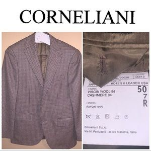 40R Corneliani Brown-Tan Plaid Sport Coat